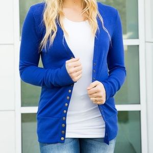 Button Up Blue Cardigan